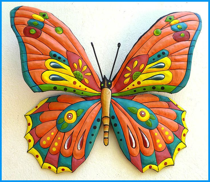 Metal art painted metal butterfly wall hanging metal art for Funky garden accessories