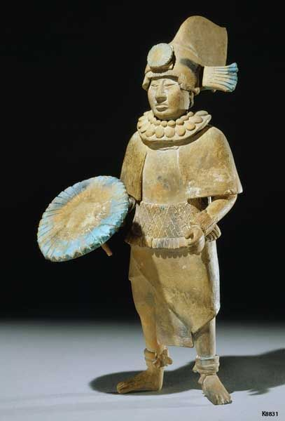 Mexico, Standing Male Figure, ceramic with maya blue pigment, 600-800
