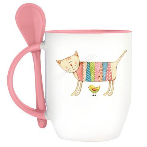 Кружка с ложкой Кружка с ложкой (розовая) - http://yuliyarodenkova.printdirect.ru