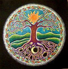 Tree of Life  Mandala Summertime - matted print Sun, Moon, Roots, Earth, Sacred Circle, Art, Drawing, Colored Pencil