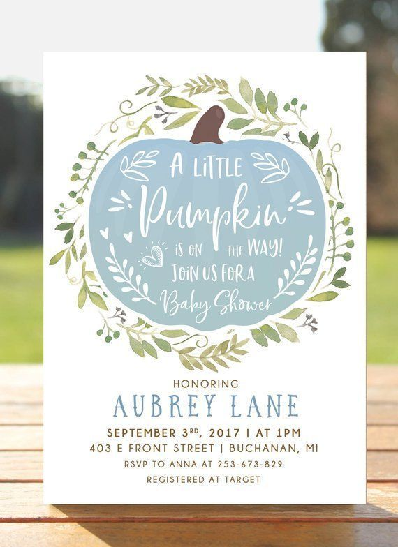 Little Pumpkin Baby Shower Invitation, Fall in Love Autumn Invite, Boy baby shower invites, Blue harvest leaves, Editable Rustic Boho Floral