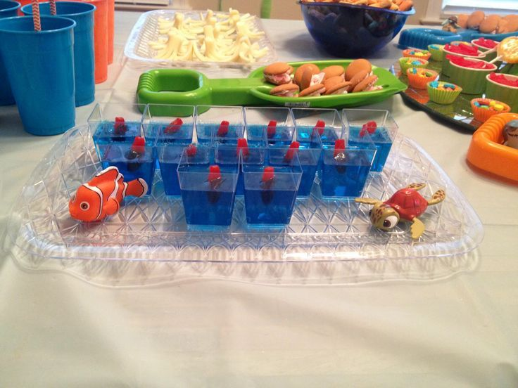 Finding nemo themed birthday party shark fish food boys for Fish themed party food