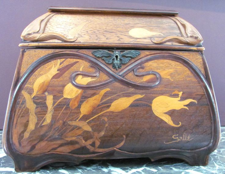 Émile Gallé (1846–1904) - Box. Carved Mahogany with Marquetry Inlays and Bronze Hardware. Circa 1900.