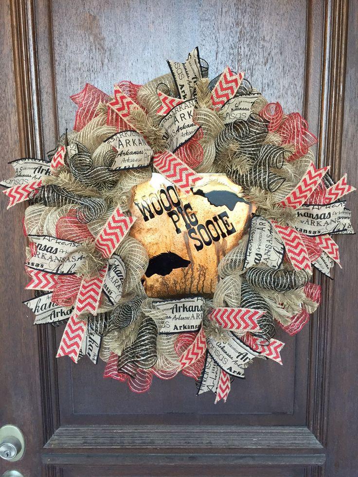 Razorback Wreath, University of Arkansas Wreath, Hog Wreath, Woo Pig Sooie Wreath