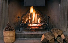 A real log fire