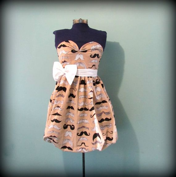 Womens Mustache Print Party Dress Vintage by offbeatvintage, $74.00