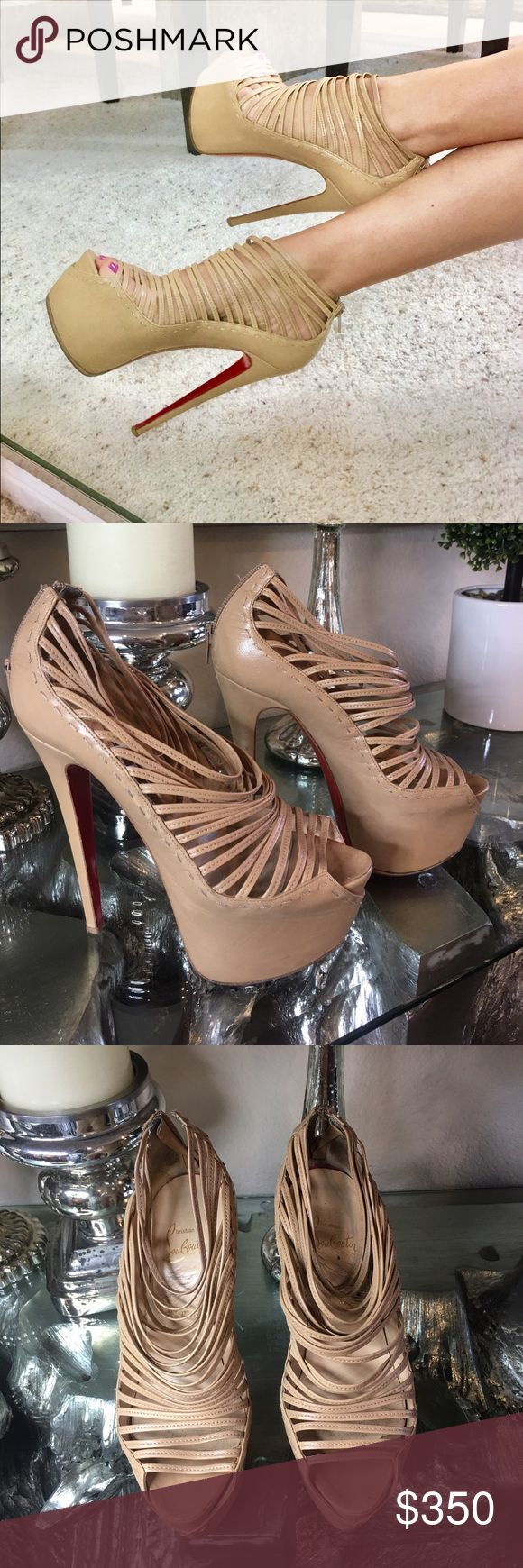 Christian Louboutin daffodile nude Ankle booties Authentic Christian Louboutin daffodile nude ankle booties. Sole has been redone by professional cobbler.  Some nicks and scratches but could be cleaned. Comes with box no bag. Christian Louboutin Shoes Ankle Boots & Booties
