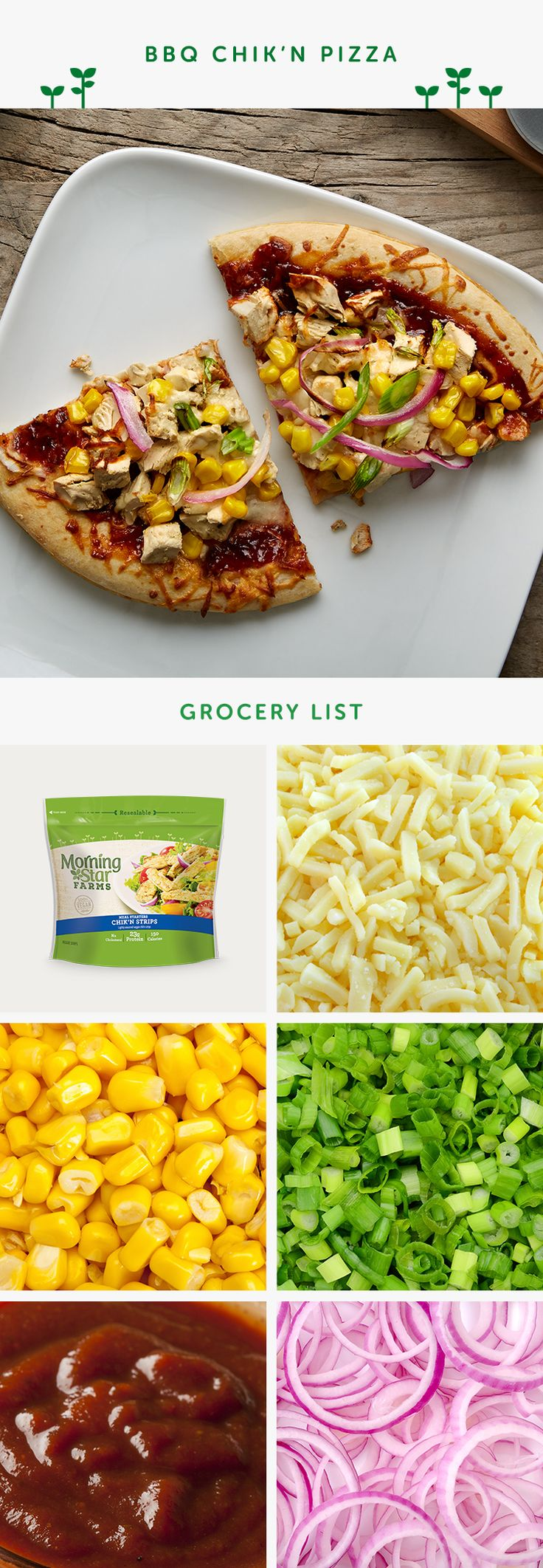 Make a quick and easy BBQ pizza using premade crust, MorningStar Farms chik'n strips, and fresh veggies.
