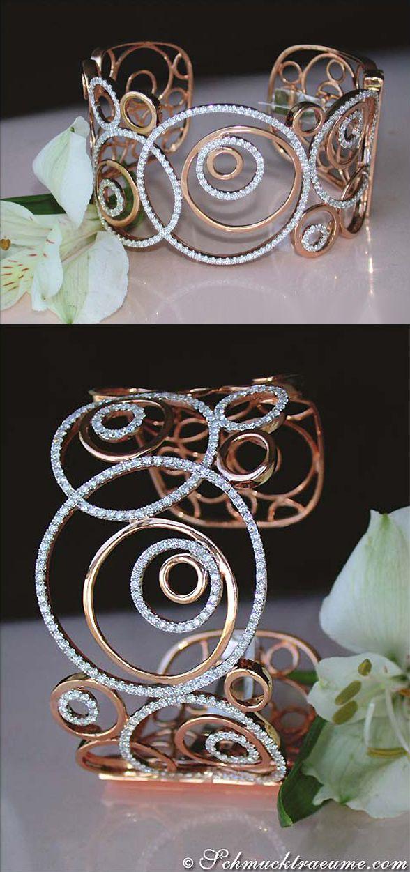 Beautiful Diamond Bangle, 3,93 cts. g-vs1 RG18K - Visit: schmucktraeume.com - Like: https://www.facebook.com/pages/Noble-Juwelen/150871984924926 - Mail: info@schmucktraeume.com