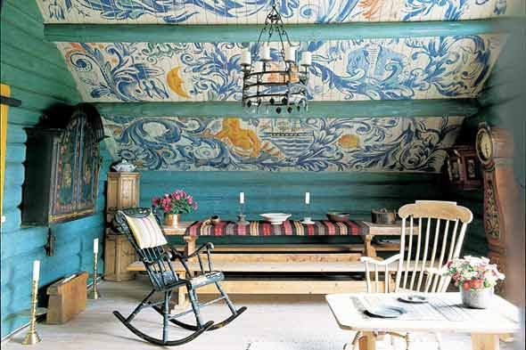 A Norwegian home is painted with images of sailors and ships. Photo: Vendome Press