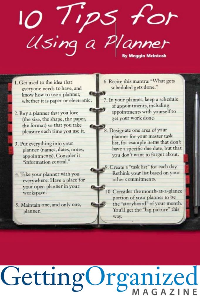 10 tips for using a planner. Good to have this in a list, even if I thought I already knew it.