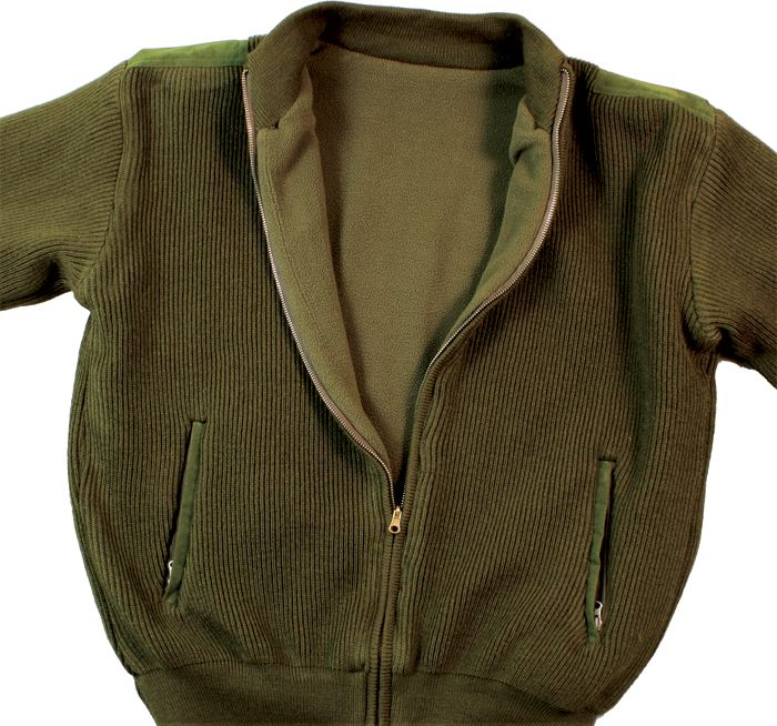 Olive Drab Reversible Zip Up Commando Sweater - Army Navy Store