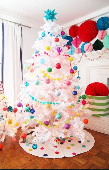 Want a white tree with neon colors for my kiddos for Christmas tree color schemes