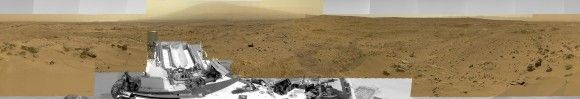 """Billion-Pixel View From Curiosity at Rocknest, Raw Color.  This full-circle, reduced view combined nearly 900 images taken by NASA's Curiosity Mars rover, generating a panorama with 1.3 billion pixels in the full-resolution version. The view is centered toward the south, with north at both ends. It shows Curiosity at the """"Rocknest"""" site where the rover scooped up samples of windblown dust and sand. Curiosity used three cameras to take the component images on several different days between…"""