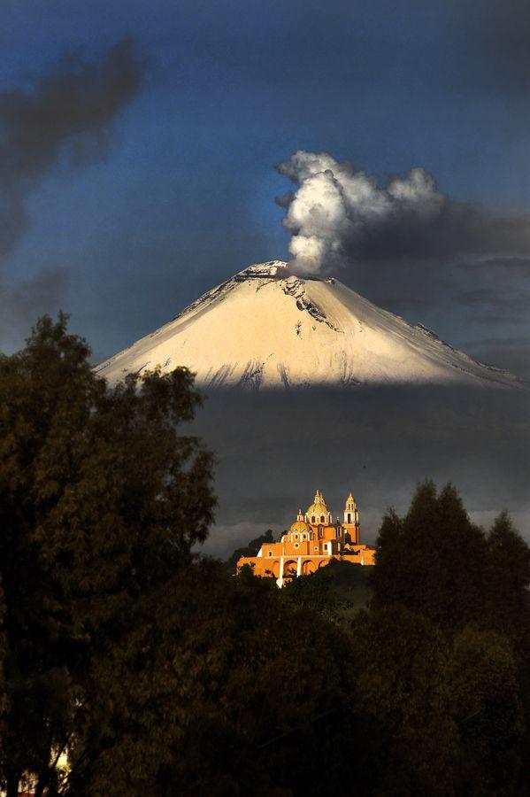 Church and Popocatepetl, Mexico