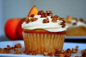 Brown Sugar Peach Cupcakes With Candied Walnuts. Cinnamon, brown sugar, vanilla and peach puree combined with buttercream frosting! You can buy our family's dry farmed, organic California walnuts here: http://www.limerockorchards.com/product/raw-walnuts-1lb/