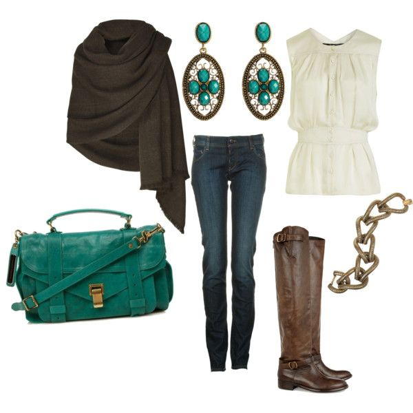 Love this chocolate shawl with the turquoise. That bag.......ohhhhh my.