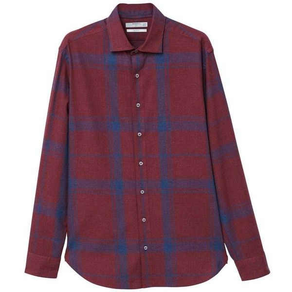 Slim-Fit Check Flannel Shirt (£25) ❤ liked on Polyvore featuring tops, red, mens slim fit flannel shirts, mens red checkered shirt, mens slim fit casual shirts, mens flannel shirts and mens long shirts