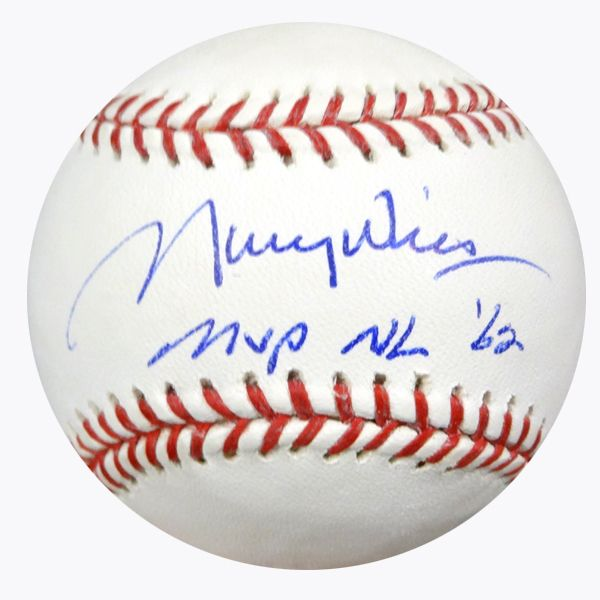 """Maury Wills Autographed Official MLB Baseball Los Angeles Dodgers """"""""MVP NL '62"""""""" PSA/DNA Stock #64815"""