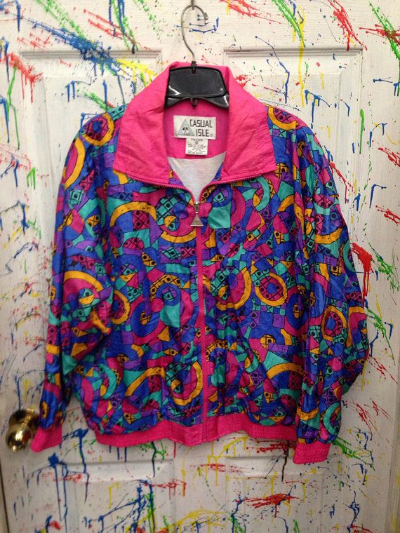 Vintage 80's windbreaker zip up jacket for both men and women size XL pink yellow purple blue and swirls motif   RagsAGoGo, $28.00