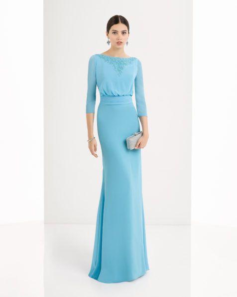 1U172. Aire Barcelona 2917. Vestido de georgette y pedrería disponible en, rojo, agua, plata, marino, azul y cobalto.