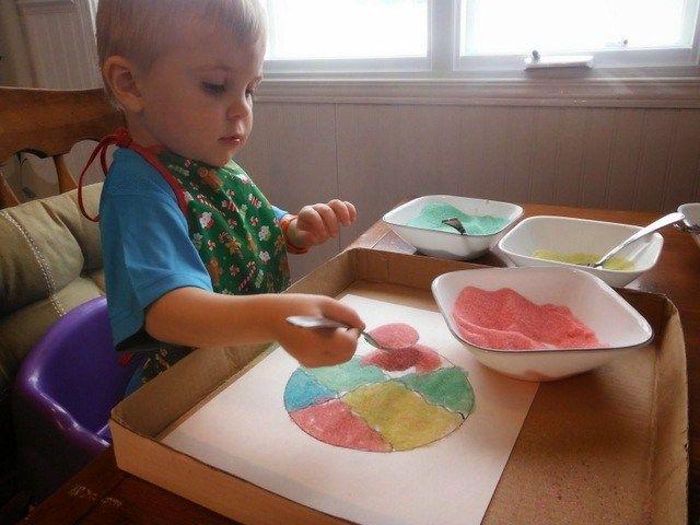 """Bricolage avec du """"sable"""" coloré - Wooloo"""