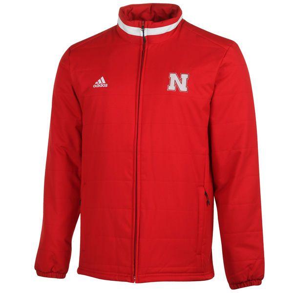 Nebraska Cornhuskers adidas Football Sideline Transition Midweight Jacket - Scarlet - $99.99
