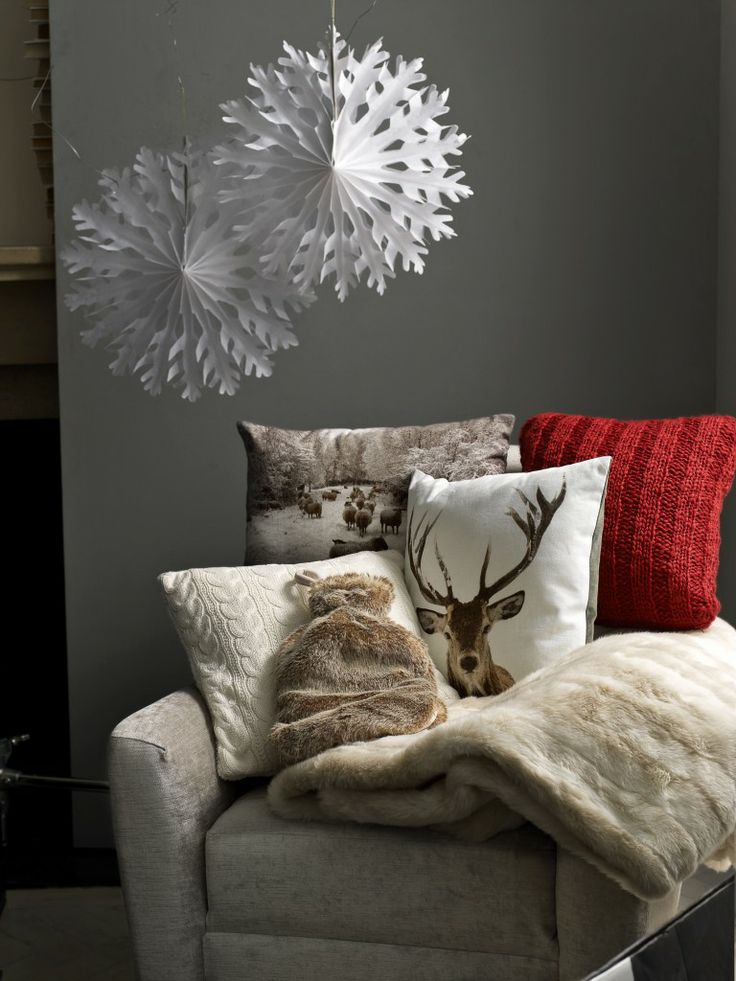 Faux fur and reindeer cushions #Christmas from #johnlewis