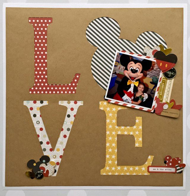 Disney Love featuring Simple Stories Say Cheese I & II and Mickey & Friends Cricut cartridge