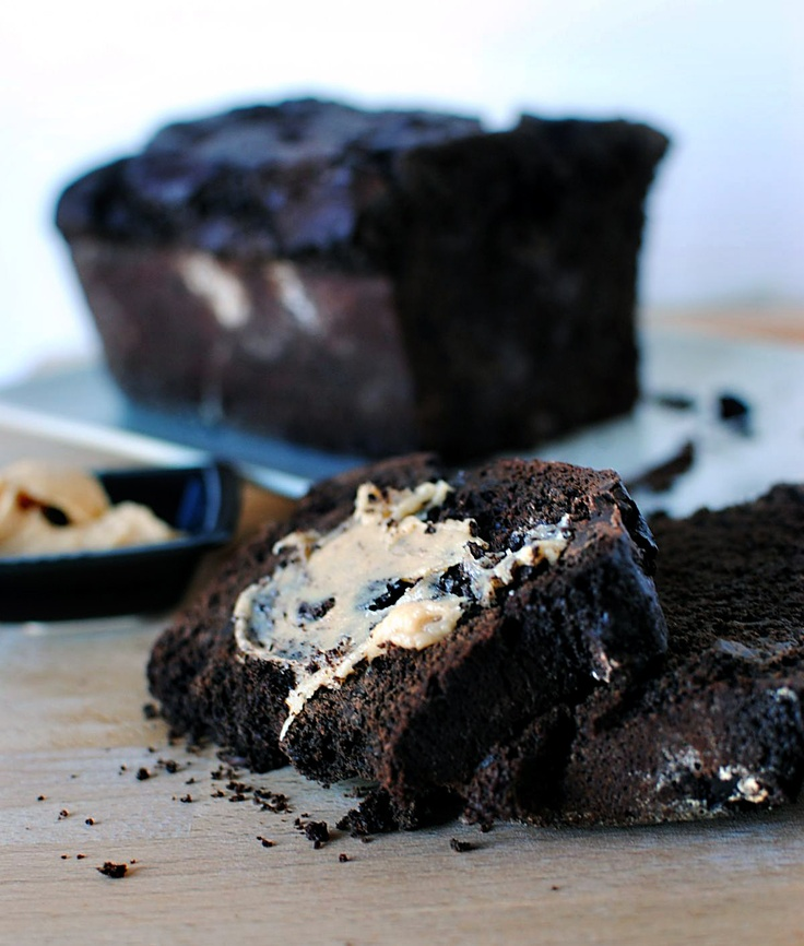 Double Chocolate Loaf with Peanut Butter Cream Cheese Spread