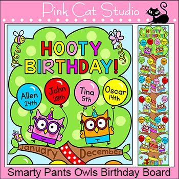 Smarty Pants Owls Theme Birthday Board - Back to School Decor