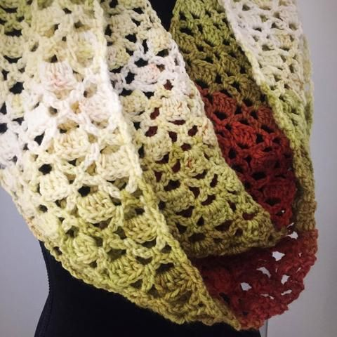 Infinity Scarf - Autumn Leaves - Handmade Crochet by Yarnish