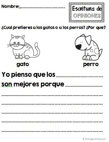 Opinion Writing unit in Spanish.  Unidad de escritura: opiniones en espanols.  Kinder, first grade, second grade