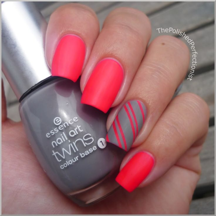stripey: Matte Nails, Nails Art, Nails Design, Pink Nails, Rings Fingers, Hot Pink, Nails Polish, Gray Nails, Bright Colors