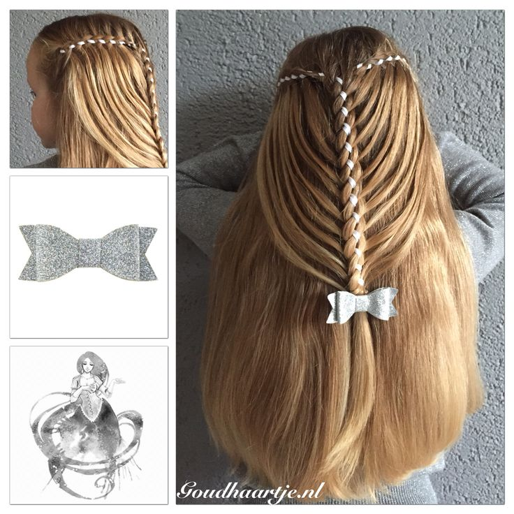Four strand ribbon waterfall mermaid braid