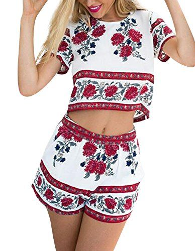 Special Offer: $16.99 amazon.com Feature: Gender: Women Style: Casual Material: Cotton Item Type: Crop Top Shorts Set Occasion: Beach, Party, Club, Summer Package Included: 1 X Piece Top   1 X Piece Shorts Size: S—Bust:33-34—Waist:26-27—Shoulder:14.0 (inches)...