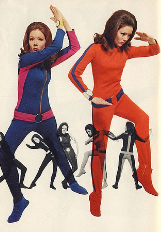 """Diana Rigg, a.k.a.Emma Peel from The Avengers    The jumpsuits (AKA """"Emmapeelers"""") were designed specifically for the character to differentiate her from Honor Blackman's harder style and tight-fitting leather. Rigg reportedly was pleased by this since she disliked the leather outfits anyway."""