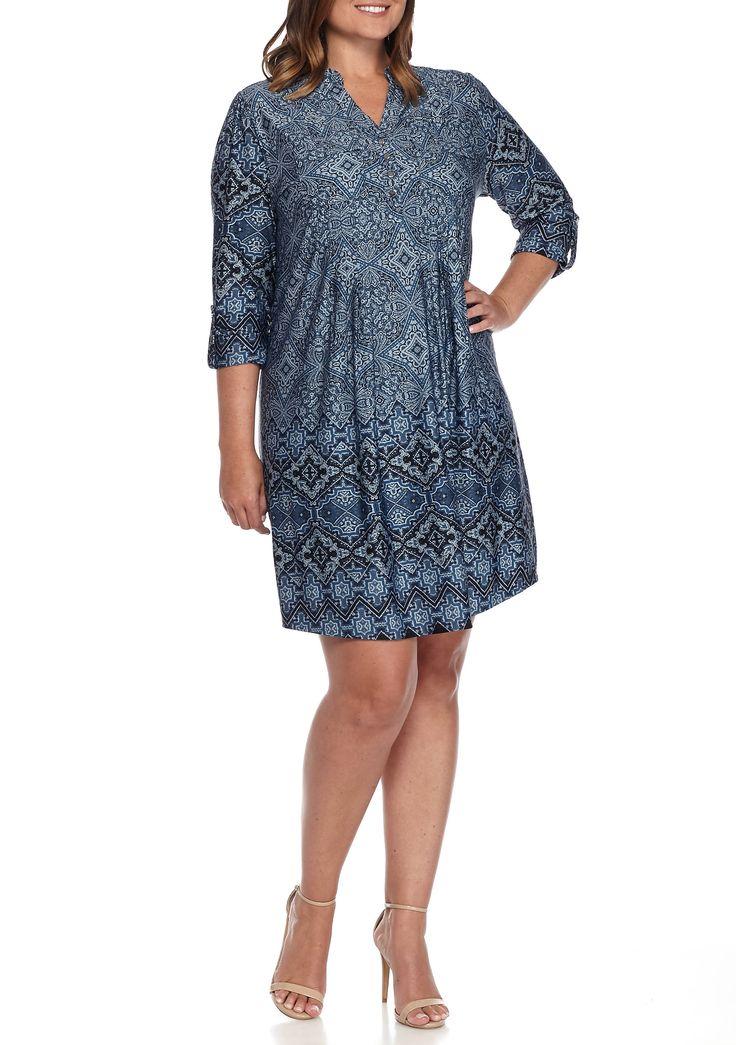 Plus Size Henley Jersey Knit Dress