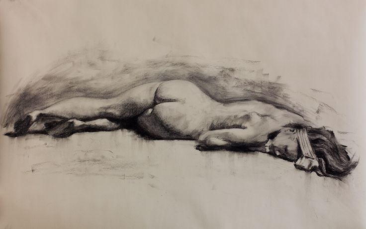 Charcoal figure drawing.