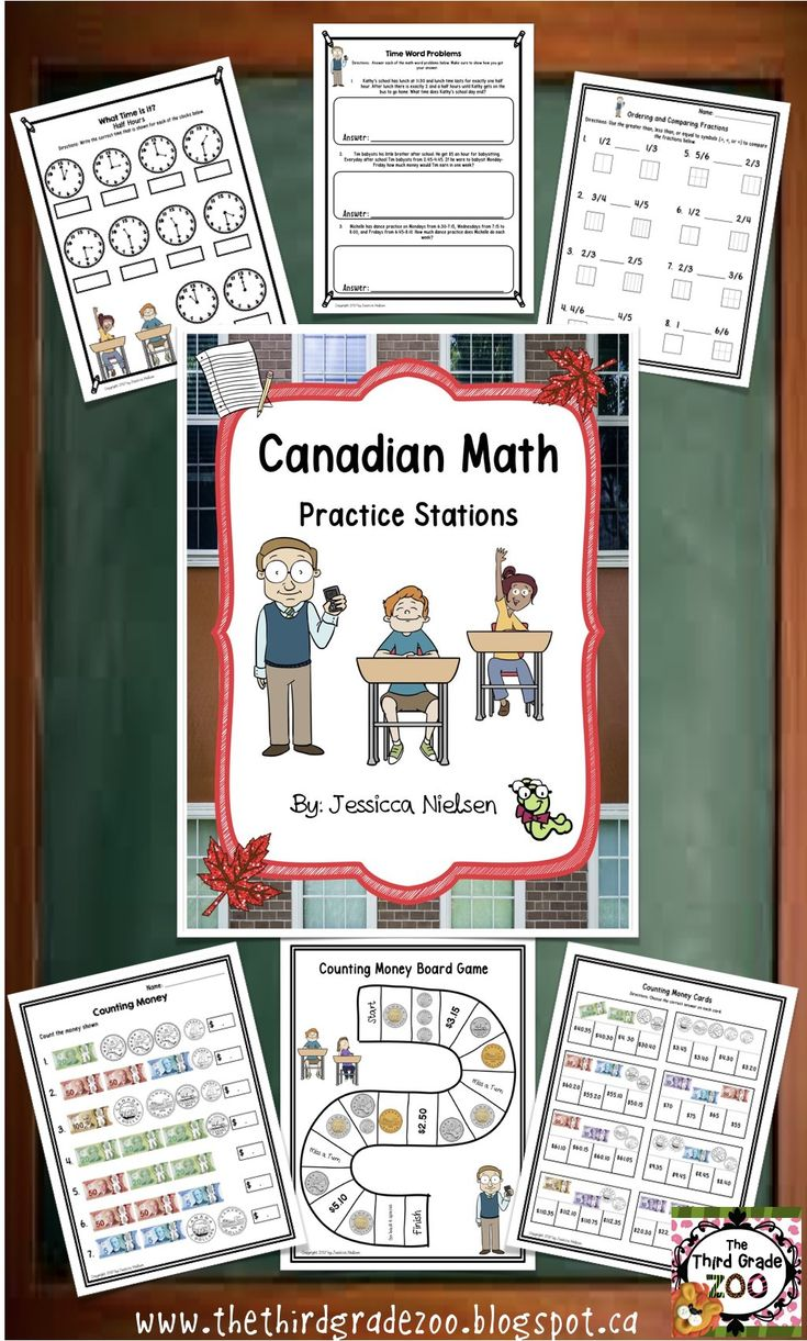 $ My newest resource includes contains three different stations for the math topics: Time, Canadian money, and Comparing and Ordering Fractions.
