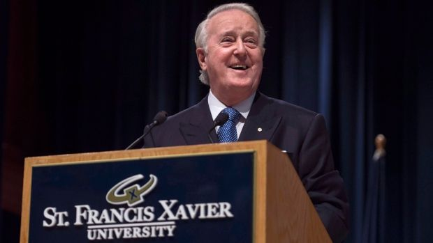 Former prime minister Brian Mulroney announces the $60-million Mulroney Institute of Government at St. Francis Xavier University in Antigonish, N.S., on Oct. 26, 2016. The institute got a good chunk of its financing from donors embroiled in international controversy, a joint investigation by CBC/Radio-Canada and the Toronto Star has found.