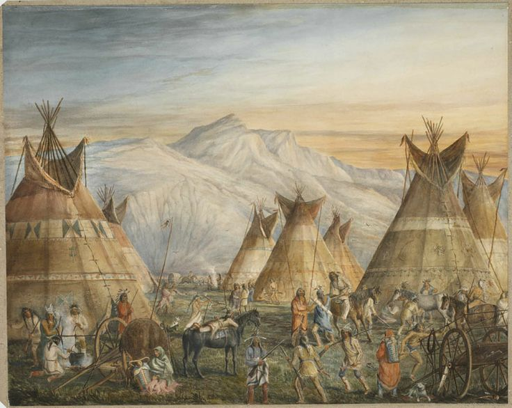 William Armstrong -- Blackfoot Indian Encampment, Foothills of the Rocky Mountains [date unknown].