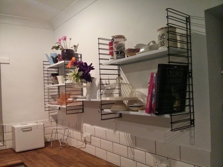 Our Tomado shelves by D.Dekker are up in the kitchen. I love them! We need lots of brightly bits and bobs to put on them.