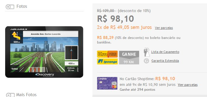 """GPS Automotivo Aquarius Discovery Channel 4.3"""" Slim Touch Screen << R$ 8829 >>"""