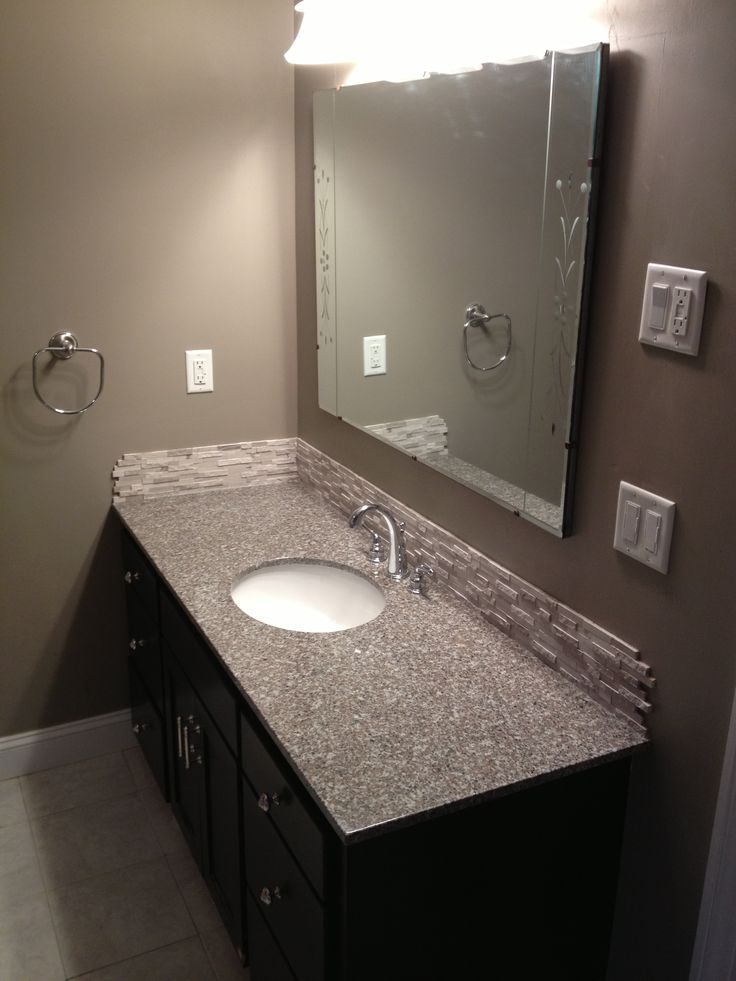 Diy Weekend Bathroom Makeover Prefab Granite Countertop This Is Burlywood Stacked Stone