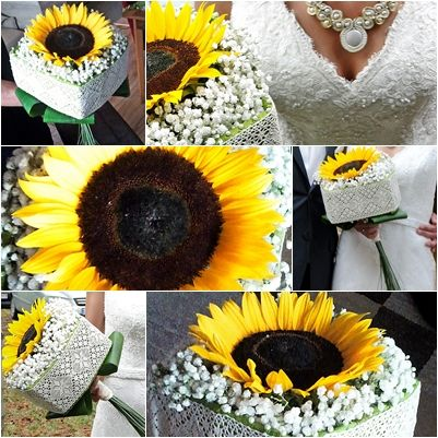 Sunflower bouquet, rustic wedding.