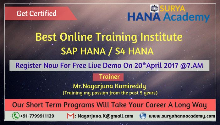 We are conducting SAP HANA/S4HANA Live Demo On Thursday(20- April) at 7AM (IST) Surya Hana Academy SAP HANA Online Training If learning is your desire, Teaching is our passion. Come and Join Us ! Register Now For Free Live Demo. https://attendee.gotowebinar.com/register/6978916243321116929?source=Sh1