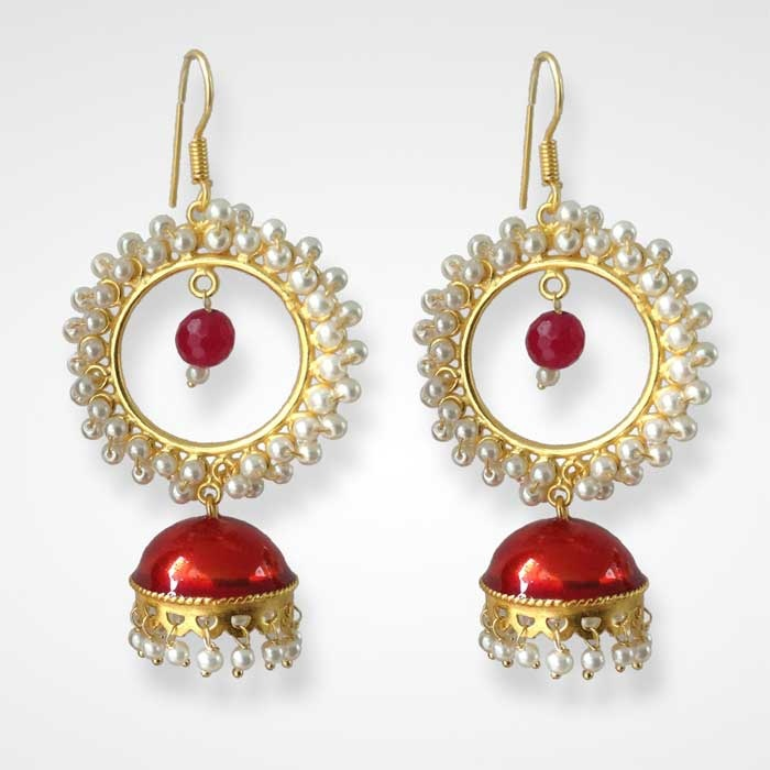 Halo Red Jhumkas: The metallic red with the white halo circle on top gives a grand look to this dress jumka. the tiny , single bead red dangler creates a classic relief in the center . the hooks are deliberate to create visibility for the earlobe. To Buy: http://www.daminiartisans.com/Subpage.php?product=158=YWN0aXZl