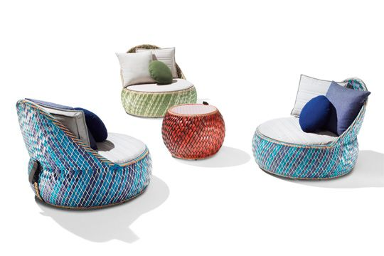Outdoor furniture made from recycled food packaging- designed by Stephen Burks.