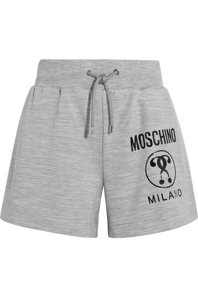 Moschino - Printed Stretch-jersey Shorts - Gray - IT44